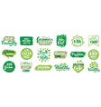 vegan organic labels vegetarian food eco badges vector image