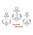 Vintage heraldic nautical anchors sketches vector image vector image