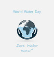 water with world icon and human hand logo design vector image