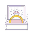 wedding and engagement ring line art icon vector image