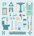 Bathroom Icons and Silhouettes vector image