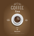Coffee poster Print with realistic coffee cup vector image