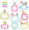 frames and stickers with owls for scrapbooking vector image