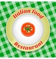 Plate with title and tomato vector image