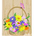 basket of flowers vector image