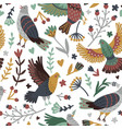 birds and forest seamless pattern vector image vector image
