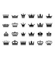 black crown icons different crown vector image