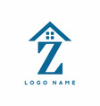blue z initial letter with house sign for real vector image vector image