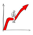 businessman riding red success arrow graph vector image