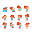 cartoon collection of sick child figurines vector image vector image