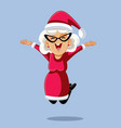 cheerful mrs claus jumping with excitement vector image vector image