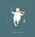 christmas card seasons greetings polar bear is g vector image