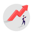 concept of business growth with an upward arrow vector image vector image