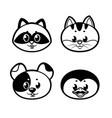 cute cartoon kitten puppy penguin raccoon outline vector image vector image