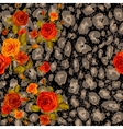 Dark leopard skin and orange roses vector image vector image