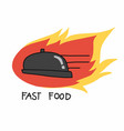 fast food serving on fire logo cartoon vector image vector image