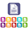 file txt icons set vector image vector image