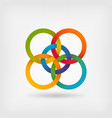 five interlocked circles in gradient rainbow vector image