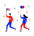 fourth july with flat character vector image vector image