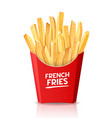 french fries fresh food in red box packaging vector image