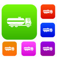 fuel tanker truck set collection vector image vector image
