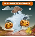 Ghost in cowboy hat with two evil pumpkins vector image vector image