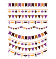 halloween garland festive buntings with pumpkins vector image