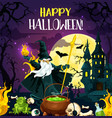 halloween horror night poster of october holiday vector image vector image