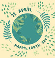 happy earth day 22 april planet earth vector image