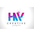 hw h w letter logo with shattered broken blue vector image vector image
