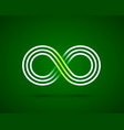 infinity line symbol on green background vector image