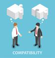 Isometric businessman in conversation vector image