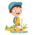 kid trekking vector image
