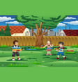 kids playing with water gun in the backyard vector image