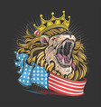 king lion america with usa flag artwork vector image