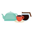kitchen teapot with coffee maker vector image vector image