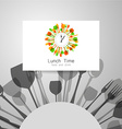 lunch time logo vector image vector image
