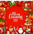 Merry Christmas 2017 greeting poster vector image vector image