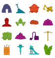 miner icons doodle set vector image vector image