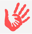 mother and child handprint palm of woman and baby vector image vector image