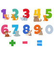 numbers set with funny cats and dogs vector image