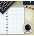 office desk with keyboard coffee and notepad vector image