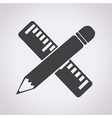 pencil with ruler icon vector image vector image
