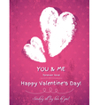 pink background with two valentine hearts vector image vector image
