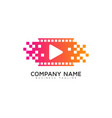 pixel video logo icon design vector image vector image