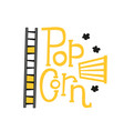 popcorn text label with popping film strip vector image vector image