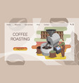 process roasting coffee beans in industrial vector image vector image