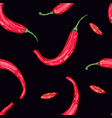 red hot pepper on black background color vector image vector image