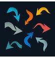 Retro Arrows Set on Black Background vector image vector image