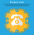 retro telephone handset Floral flat design on a vector image vector image